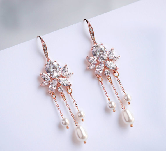 Bridal Earrings Wedding Earrings Rose Gold Plated Swarovski Pearls