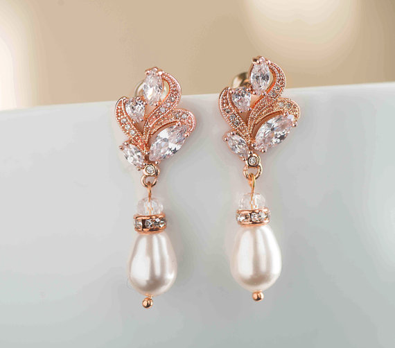 Hochzeit - Statement Wedding Earrings, Bridal Dangle Earrings Rose Gold SET with cubic zirconia Crystal Bridal Jewelry