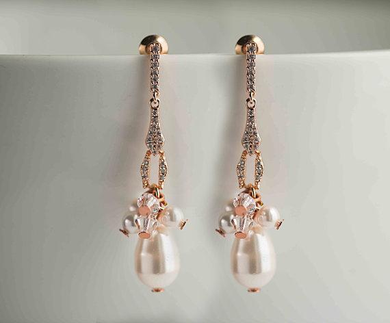 Свадьба - Rose gold/Silver Bridal Earrings, Wedding Earrings, Swarovski Pearl Swarovski crystals Rhinestone Earrings, Vintage Style Earrings, Wedding