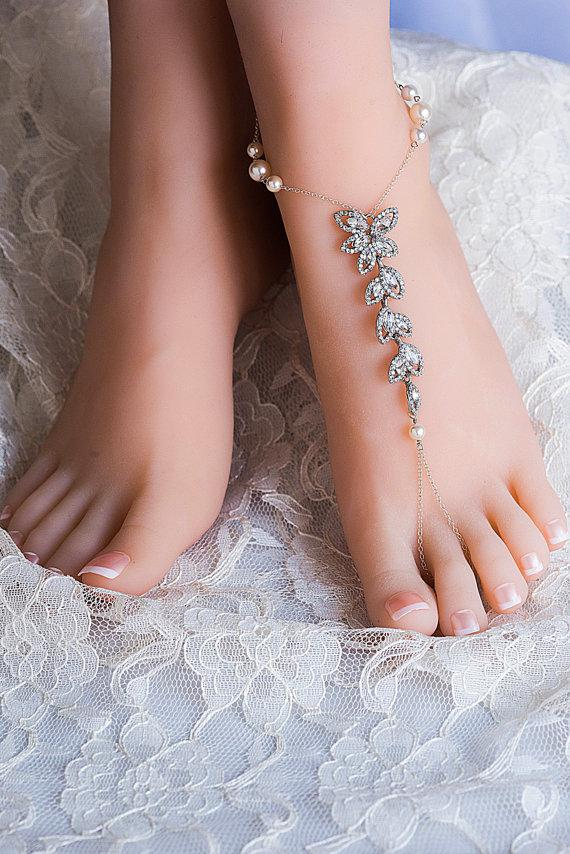 Wedding - Wedding Barefoot Sandals ,Swarovski Crystals Pearls, Sandals Wedding Gift for Bride Foot Jewelry Bridal Anklet Foot Chain