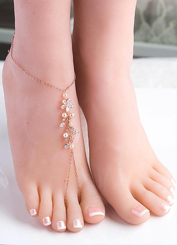 1777a1c739b Swarovski Pearls Crystal Barefoot Sandal Foot Barefoot Wedding Sandal Beach  Wedding Accessories sandals Bridal foot jewelry