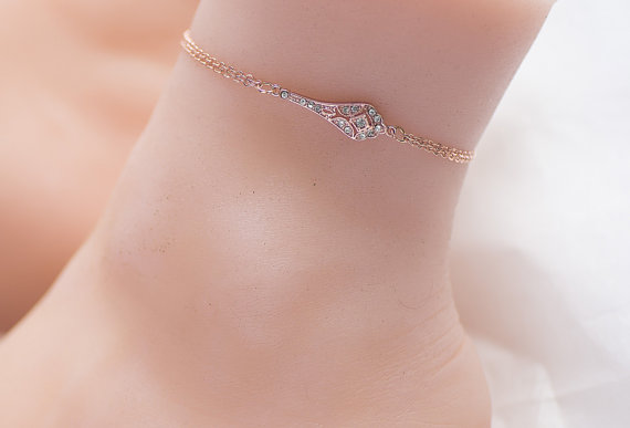 leg gold ankle swarovski products dainty chain bracelet crystal anklet clear ab