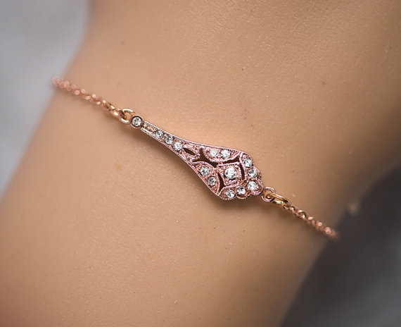 Slave Bracelet Rose Gold Silver 14k Filled Chain Hand Delicate Finger To Wrist