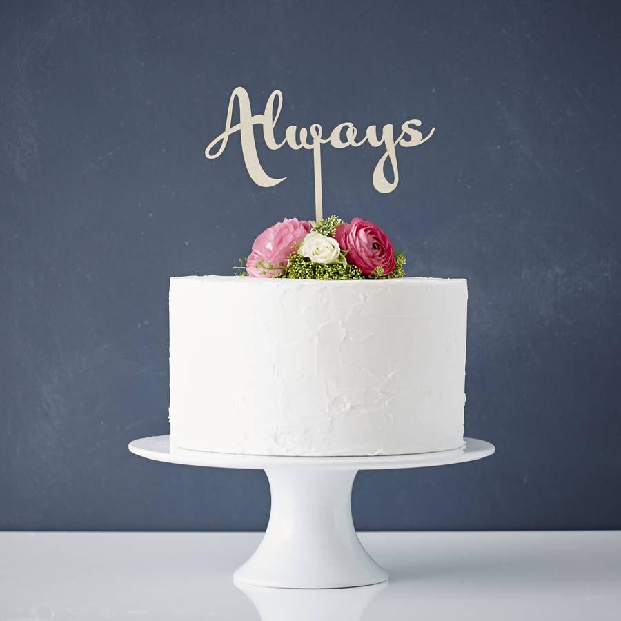 Mariage - Calligraphy 'Always' Wooden Wedding Cake Topper