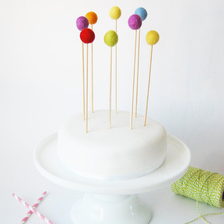 Set Of 8 Rainbow Felt Ball Cake Toppers Felt Ball Cake Topper