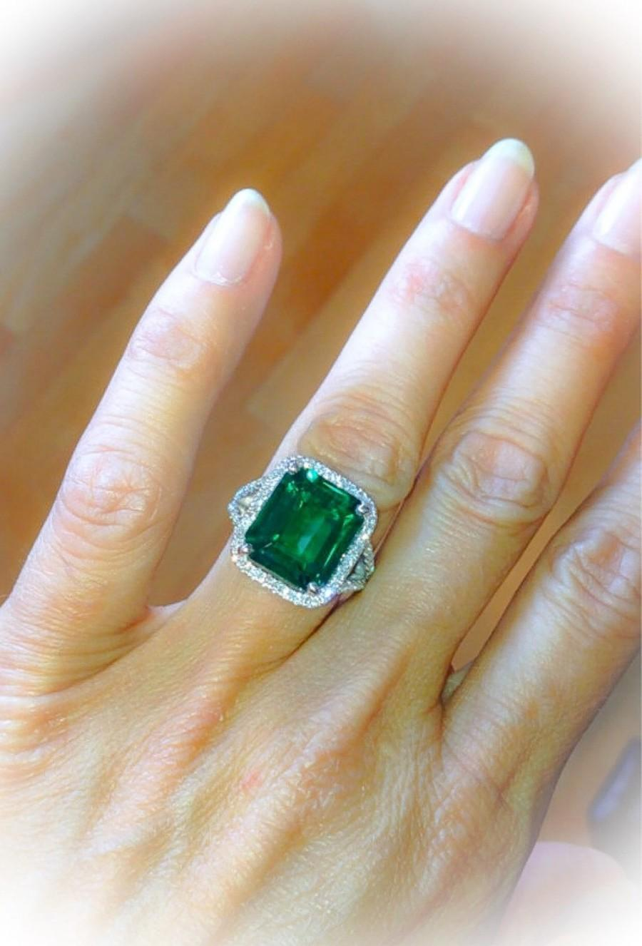 emerald engagement ring split shank 18k white gold 13x11mm 9ct emerald cut halo with fsi1 diamond wedding ring anniversary ring - Emerald Wedding Ring