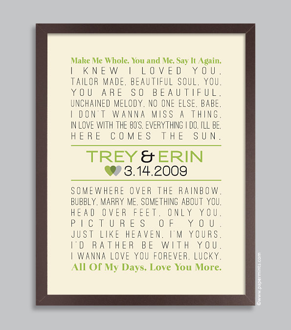 Custom Wedding Lyrics Song Print Personalized Wedding