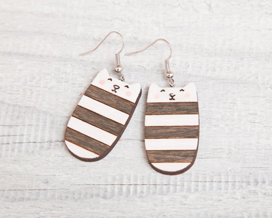 Hochzeit - Striped earrings, Wood cat, Black, Many color variations, Long earrings, Dangle Earrings