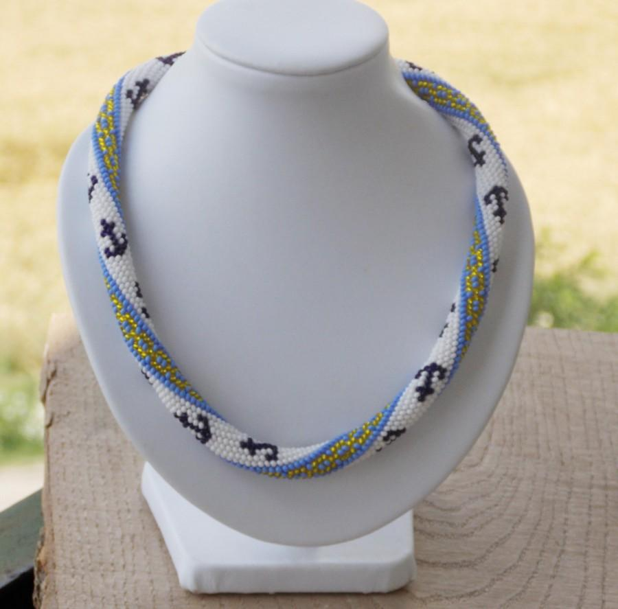 Hochzeit - Nautical Sea jewelry summer holiday Anchor stripe necklace beach sea ocean girls crochet rope colorful geometric handmade choker for her