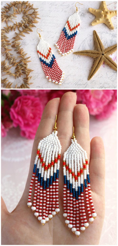 Hochzeit - Bead tassel earring Seed bead earring Nautical dangle earring Long marine earring White fringe earring Colorful earring Summer jewelry