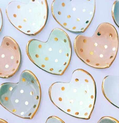 Hochzeit - Heart shaped handmade ceramic ring dish in 22K gold luster overglaze with Polka Dots, Wedding Gift, Anniversary, Ring Dish