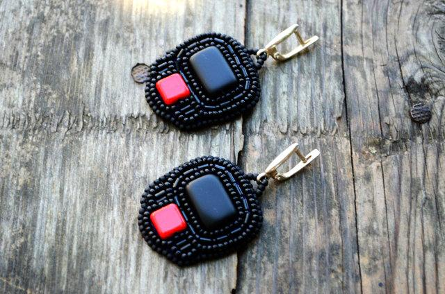 Hochzeit - Beadwork Black Earrings Bead Embroidered Black Red Dangle Earrings Sterling silver hooks Earrings Seed Bead Earrings Gift for sister or mom