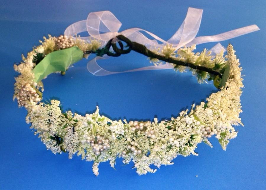 Wedding - Flower crown Coachella headband White Flower babys breath crown/Floral headband fairy crown. Floral crown. Coachella crown. Flower headband.