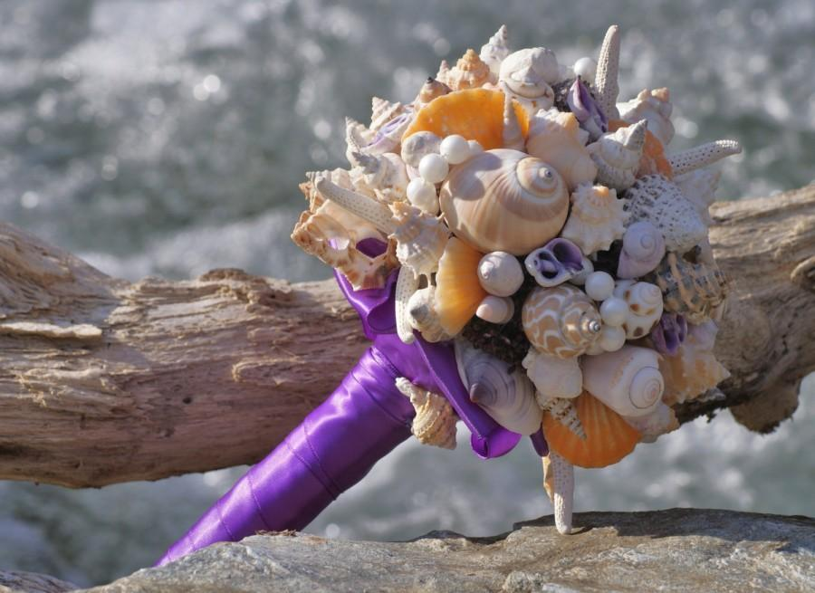 Mariage - Natural Purple and Coral Orange Seashell Bouquet / Beach Bouquet