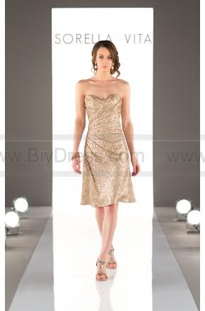 Wedding - Sorella Vita Cocktail Length Sequin Metallic Bridesmaid Dress Style 8793