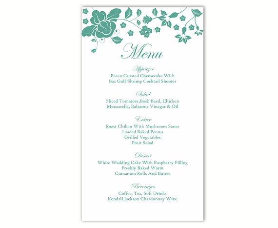 Hochzeit - Wedding Menu Template DIY Menu Card Template Editable Text Word File Instant Download Blue Teal Menu Template Printable Menu 4x7inch
