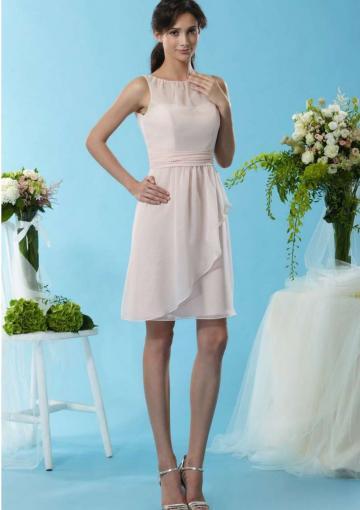 Свадьба - Zipper Scoop Blush Sleeveless Ruched Chiffon Short