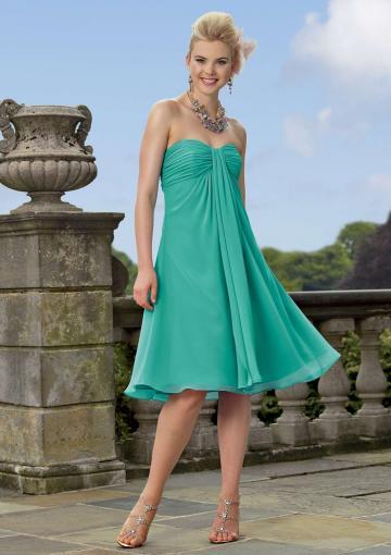 Wedding - Sweetheart Ruched Green Sleeveless Chiffon Short