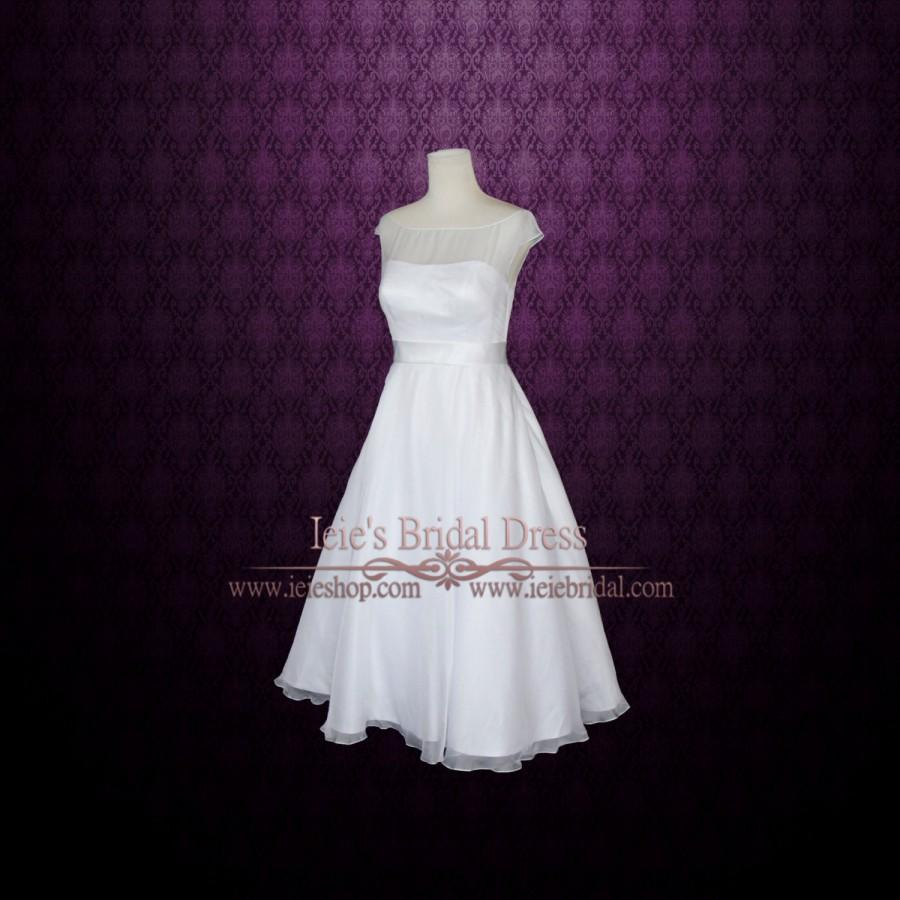 Simple yet elegant modest retro 50s tea length white for Silver tea length wedding dresses