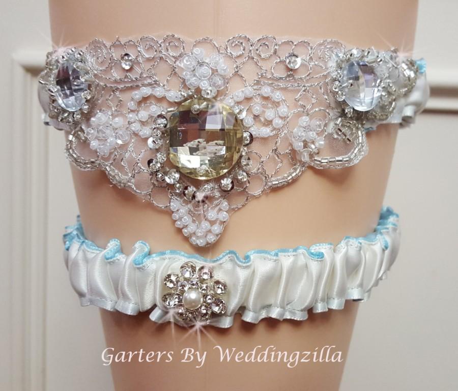 Свадьба - Wedding Garter Set ,  Ivory  Blue Lining and  Beaded Crystals Applique, Ivory Bridal Garter, Wedding Garter Belt