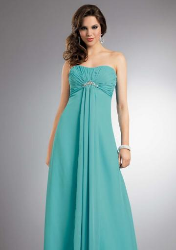 Wedding - Strapless Blue Sleeveless Ruched Chiffon Floor Length