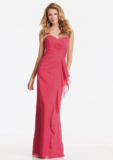 Wedding - Sweetheart Watermelon Ruched Sleeveless Chiffon Floor Length