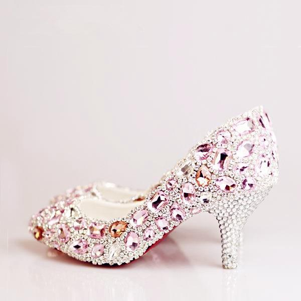 Wedding - Enchanting Crystal Beak Closed Toe Mid Heel Pink Wedding Shoes