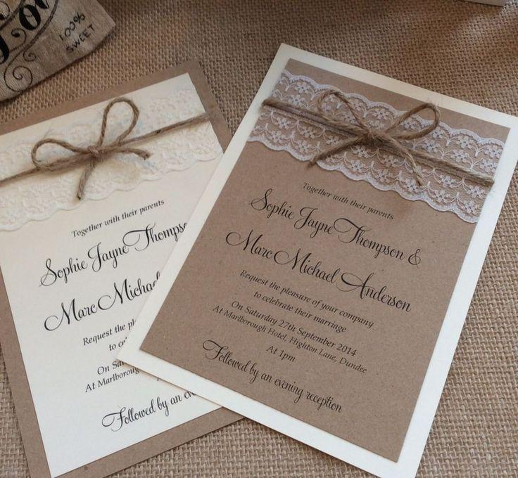 Mariage - 1 Vintage/shabby Chic 'Sophie' Wedding Invitation With Lace And Twine