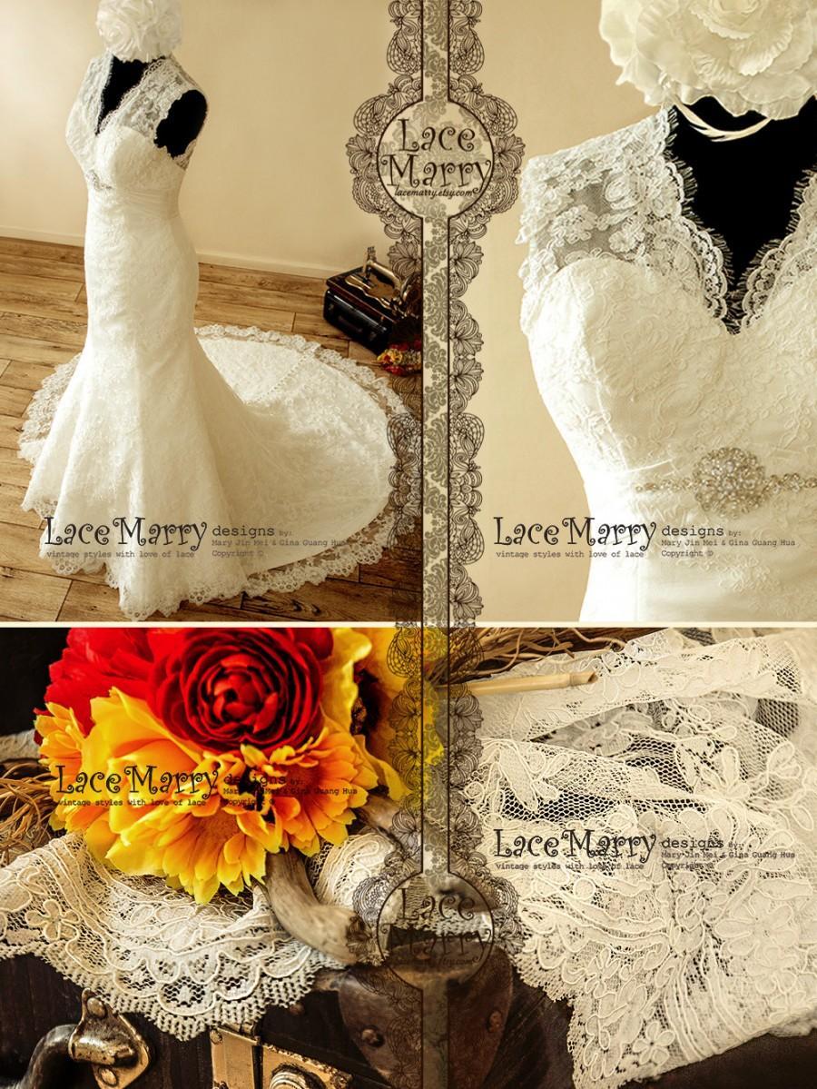Wedding - Romantic Lace Wedding Dress with Illusion Style Neckline and Key Hole Open Back - Lace Wedding Dress