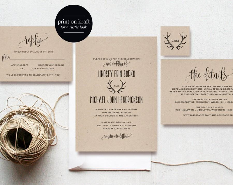 Rustic Antler Wedding Invitation, Wedding Invitation Printable ...