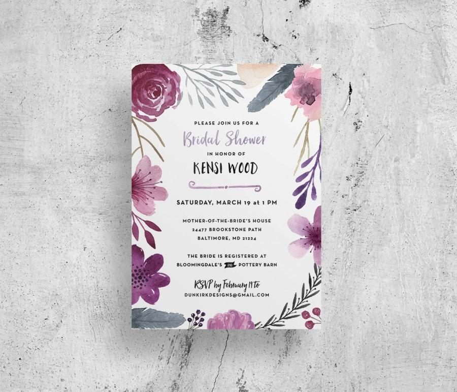 Wedding - watercolor bridal shower invitations // floral bridal shower invites // watercolor flowers // purple watercolor // printable digital file