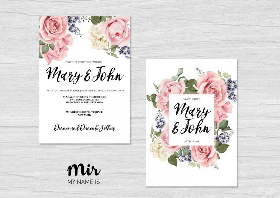 Printable Wedding Invitation Save The Date Simple Card Custom Original Flowers Vintage Chic