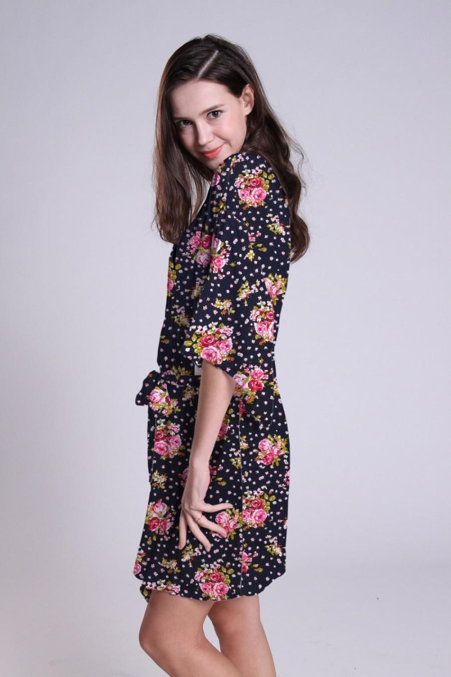 Navy Plus Size Kimono Dress Kimono Dressing Gown Floral Kimono Robe ...