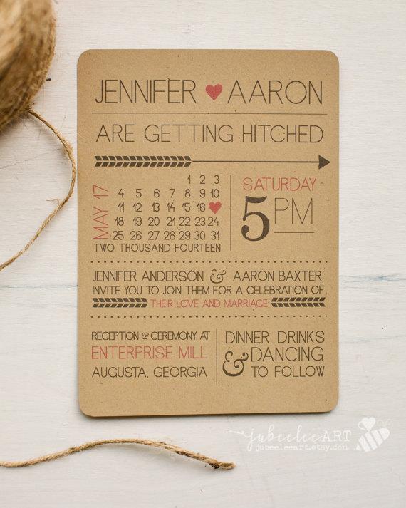 زفاف - Rustic modern fun printed or printable wedding invitation with calendar style date and customizable colors, kraft paper printable invitation