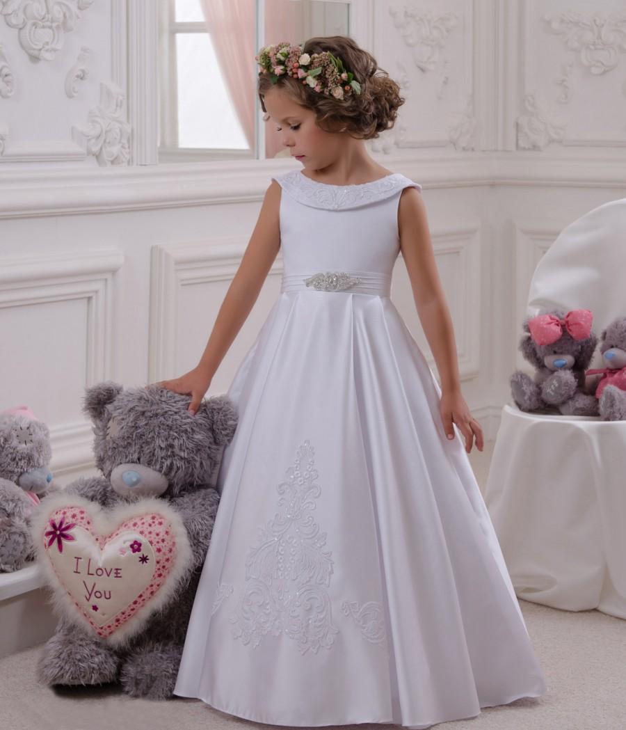 Mariage - White Flower Girl Dress, Tulle Flower Girl Dress, Toddler Flower Girl Dress, Baby Flower Girl Dress, Cream Flower Girl Dress