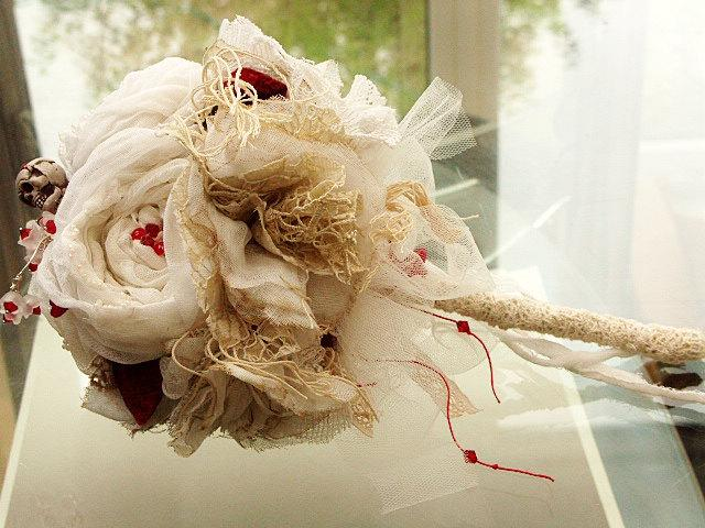 Mariage - Wedding Bridal Bouquet Vintage Fabric 'RAGDOLL' Bridal Bouquet With Red Velvet Strawberries