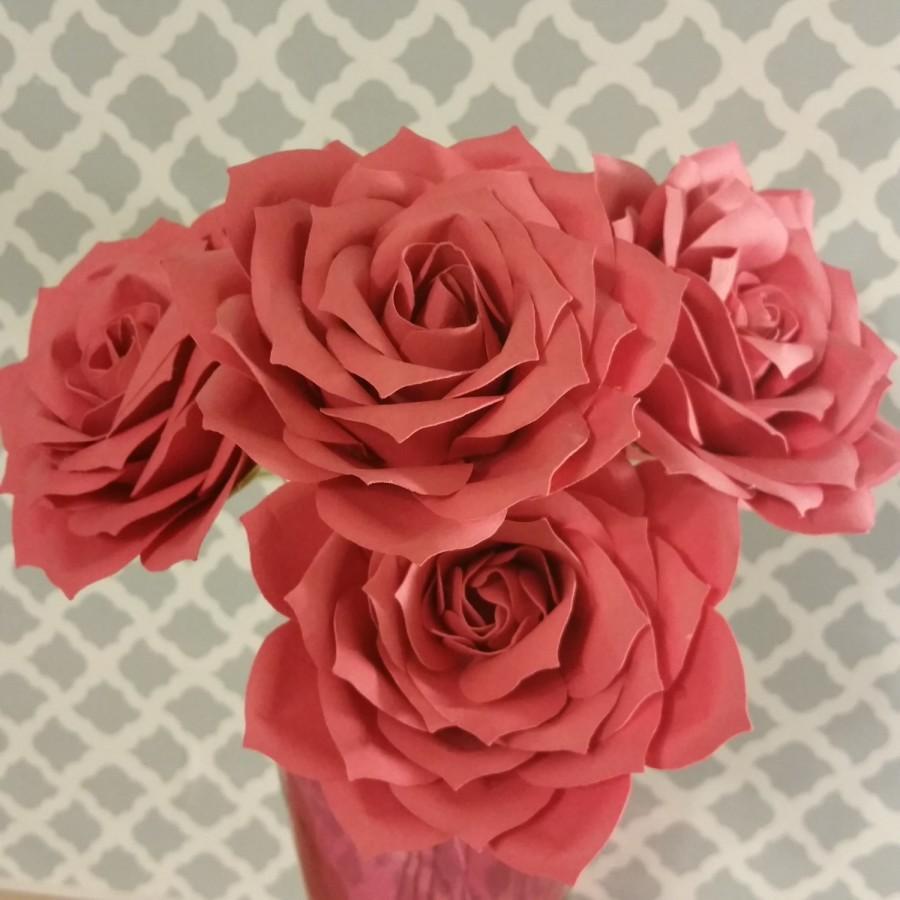 """Wedding - 3 1/2"""" Large Paper Roses-Set of 6-Custom Colors-stemmed"""