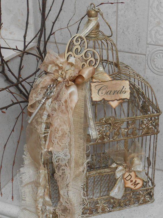 Wedding Card Box Birdcage Cardholder Vintage Shabby Victorian