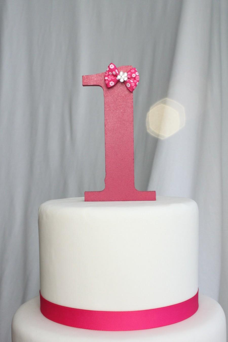 Свадьба - Pink Year One Cake Topper