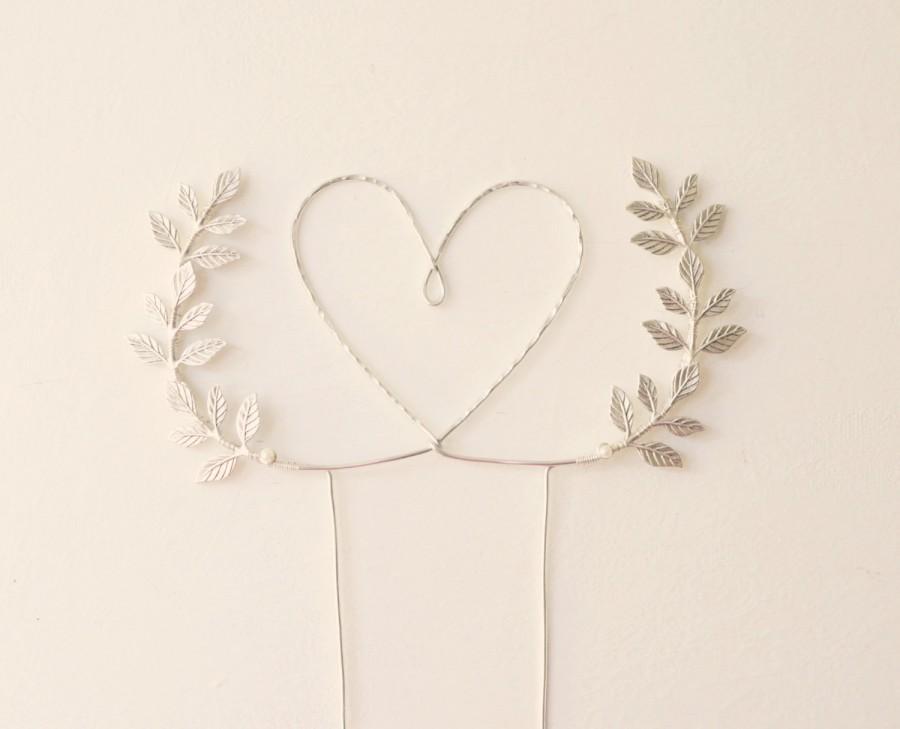 Свадьба - Silver heart wedding cake topper, Heart and leaves cake topper, Woodland cake topper, Rustic chic wedding, Woodland, cake topper
