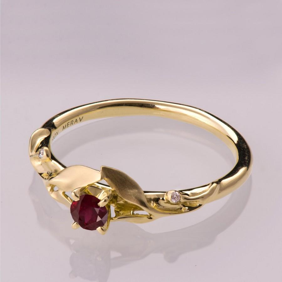 Hochzeit - Leaves Ruby Ring - 14K Gold and Ruby Ring, July Birthstone, Three stone ring, Unique engagement ring, leaf ring, Natural Ruby Ring,13