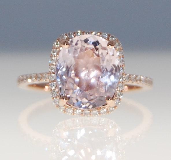 Mariage - Sapphire Engagement Ring 14k Rose Gold Diamond Ring 3.4ct Cushion Mauve Blush Ice Peach Champagne Sapphire