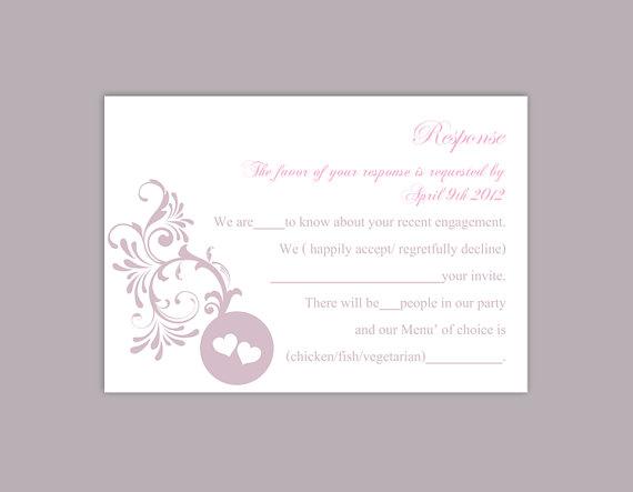 Wedding - DIY Wedding RSVP Template Editable Word File Instant Download Rsvp Template Printable RSVP Cards Lavender Lilac Rsvp Card Elegant Rsvp Card