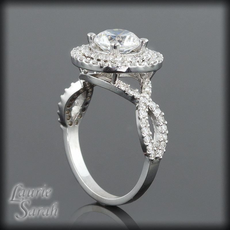 Wedding - Engagement Ring with CZ Center Stone Diamond Double Halo and Twisted Shank, Diamond Alternative Engagement Ring - LS1914