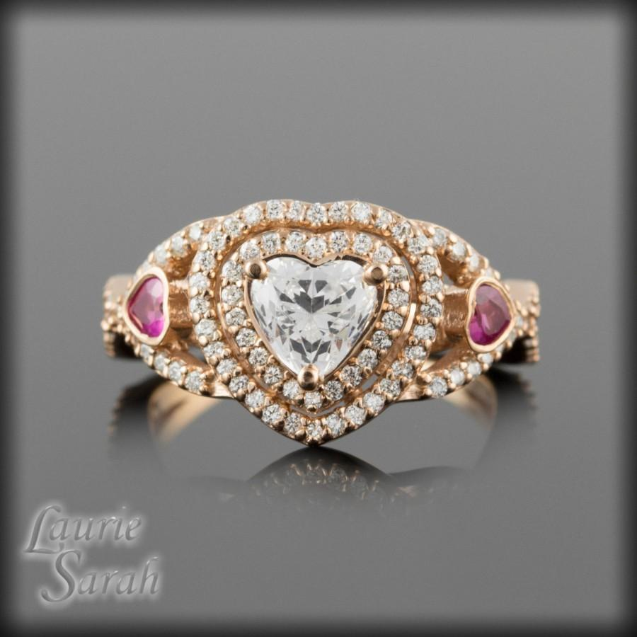 Rose Gold Engagement Ring 14kt Rose Gold Heart Cut Cz