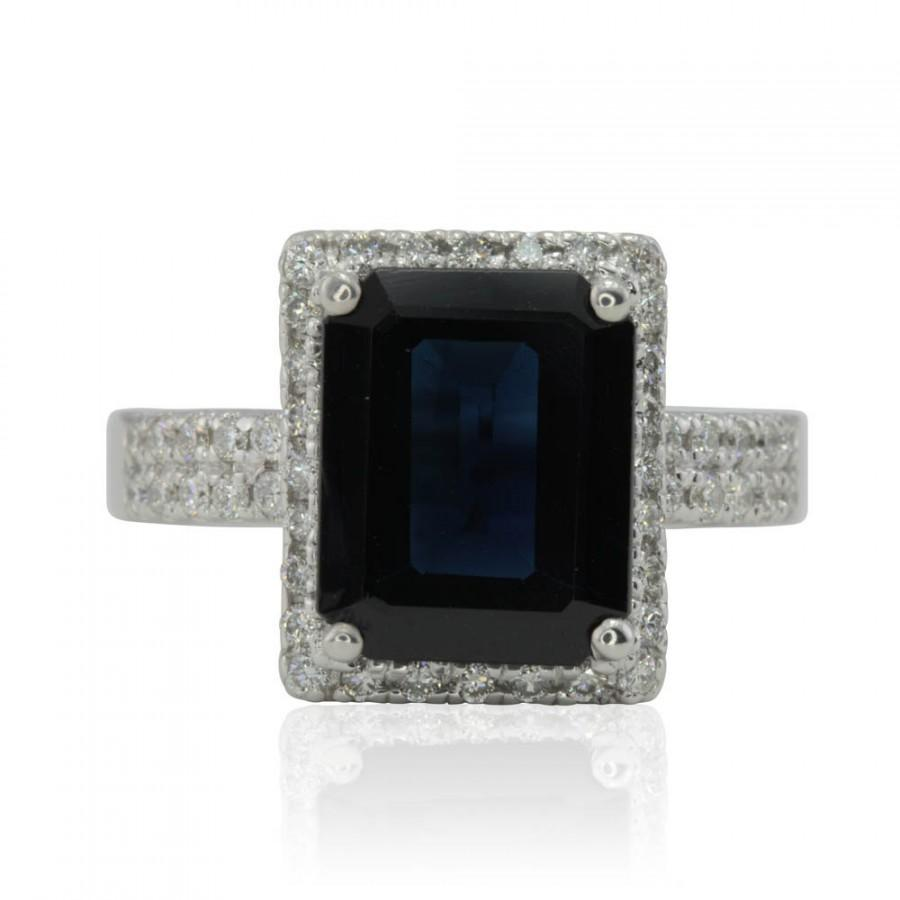 Mariage - Blue Sapphire Engagement Ring, Emerald Cut Blue Sapphire Ring with Diamond Halo in 14k White Gold - LS2388