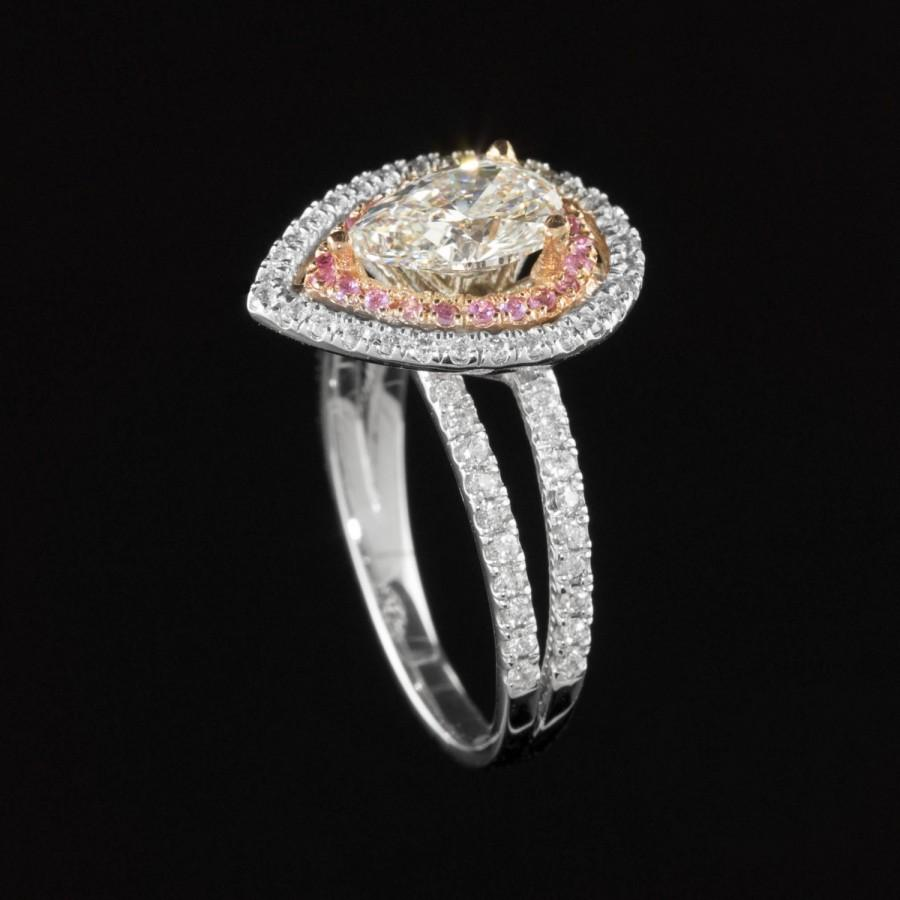 Mariage - Engagement Ring, Pear cut Diamond Engagement Ring with Pink Sapphire & Diamond Double Halo - LS458