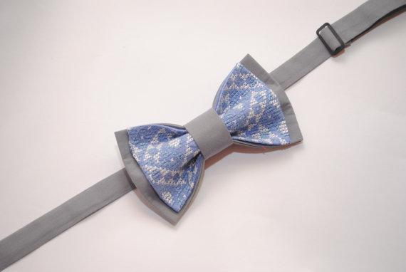 Hochzeit - Greblu Men's bow tie Grey blue embroidered bowtie Gift ideas for men Boyfriend's gift Groomsmen bowties For boys Toddler Christening outfit