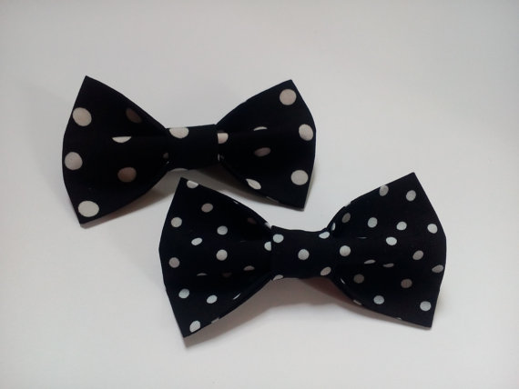 Düğün - mens black bow ties two polka dot bowties for men wedding ties groom neckties gift for husband men's gift regalo para el marido cadeau ЖЧ12