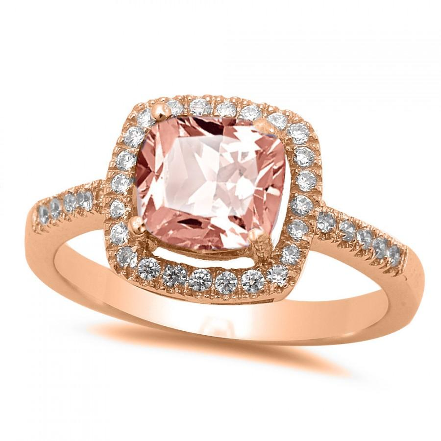 Vintage Halo Solitaire Accent Wedding Engagement Ring Rose Gold 925 Sterli